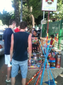 Buying Fireworks from a street vendor