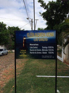Las Garzas church sign in front of building lot