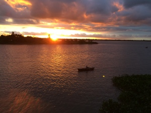 Fisherman & Sunset over Rio Paraguay